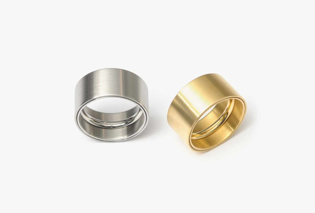 Rings <em>sr-wa</em>. Stainless steel, Gold 750