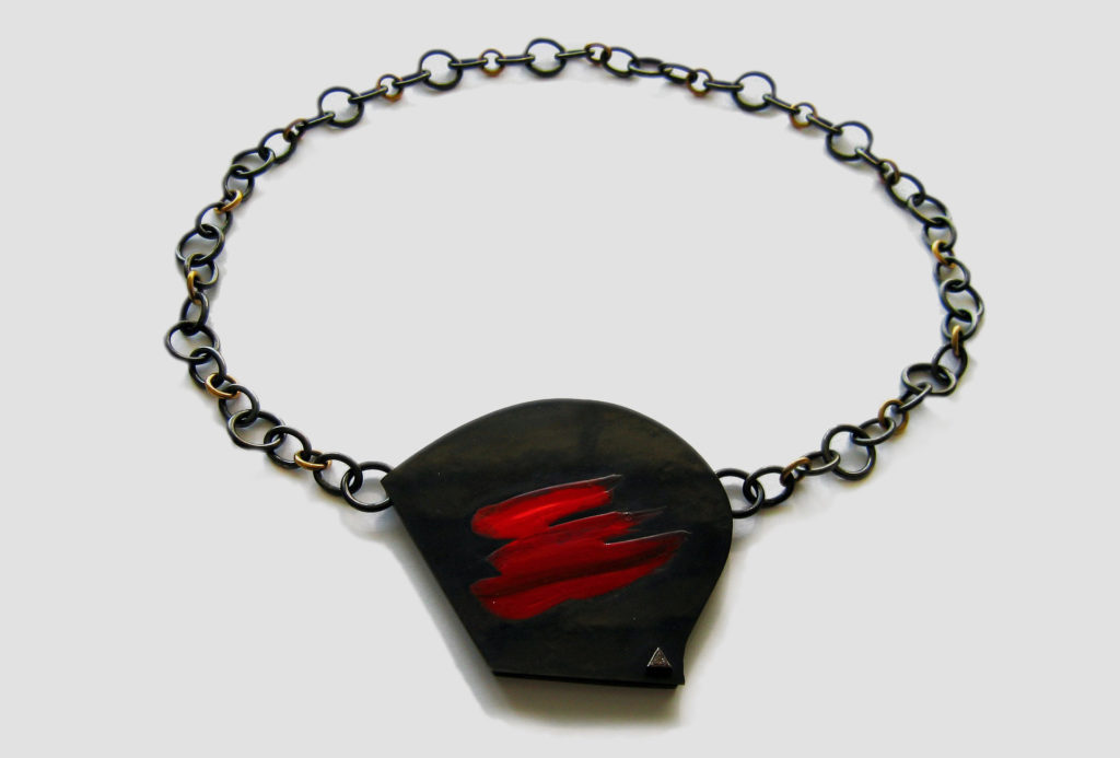 Necklace <em>Helmet</em>. Blackened silver 925, acrylic.