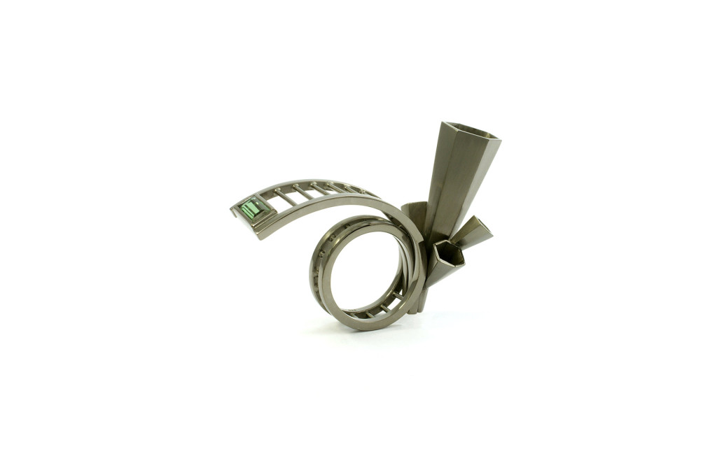 Ring <em>The Change</em>. Silver ruthenium plated, turmaline. Approx. 1090 Euro.
