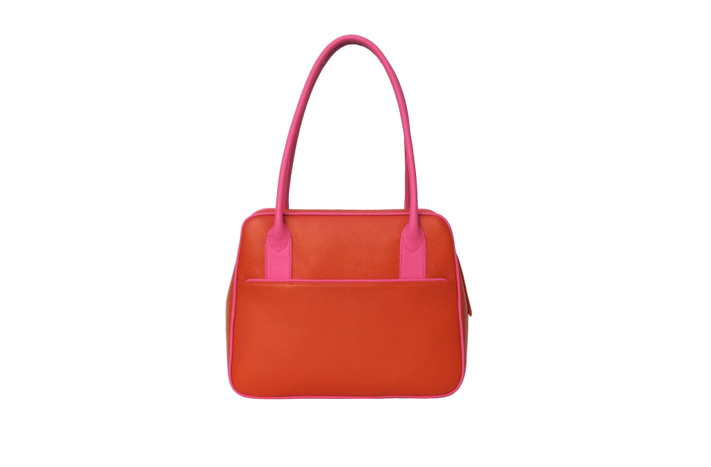Bag <em>Emmy</em>. Grained calf leather, color orange/pink. 32 × 26 × 12 cm