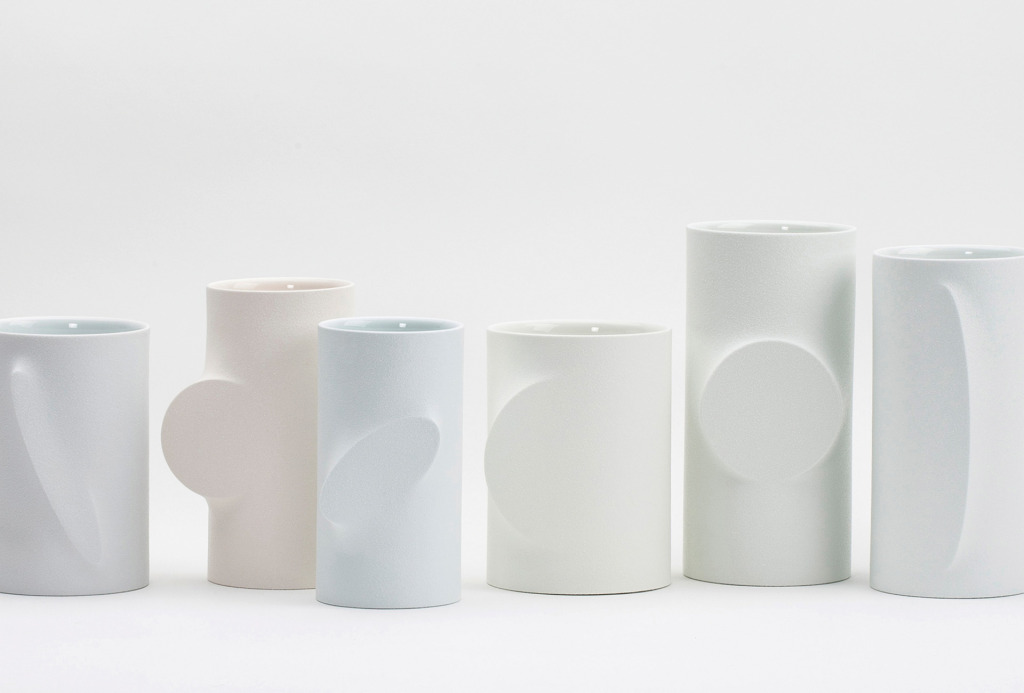 Vessels <em>Re-Formed</em>, 2014. White porcelain, slip casting, transparent glaze, various sizes