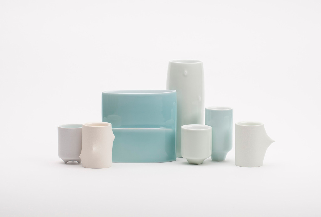 Vessels, 2013. White porcelain, slip casting, transparent and matt glaze