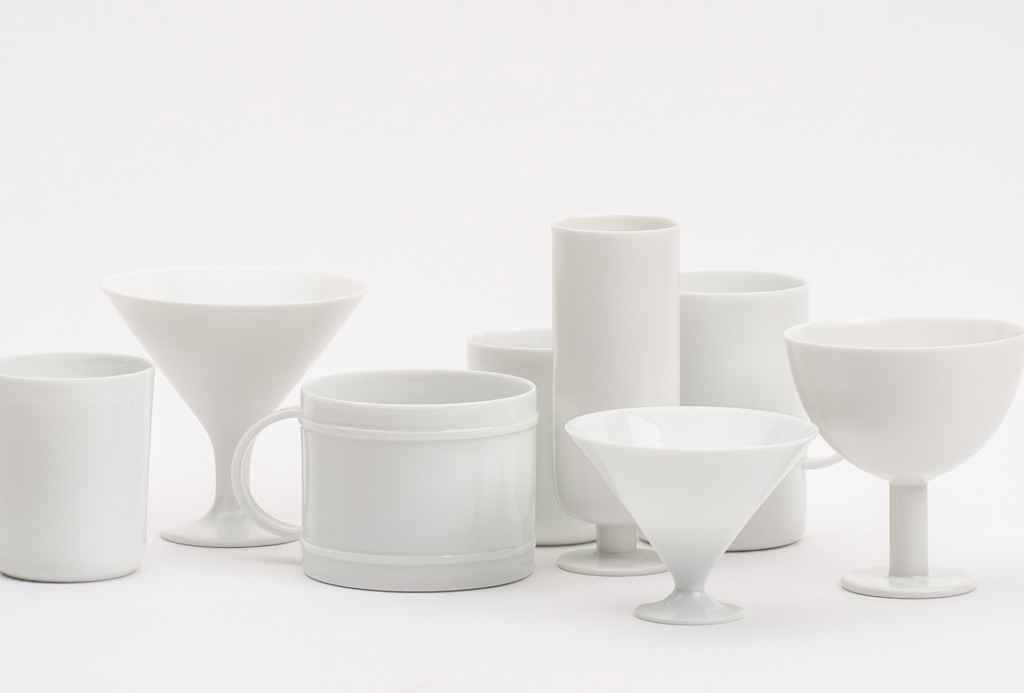 Cup series, 2013. White porcelain, transparent and matt glaze