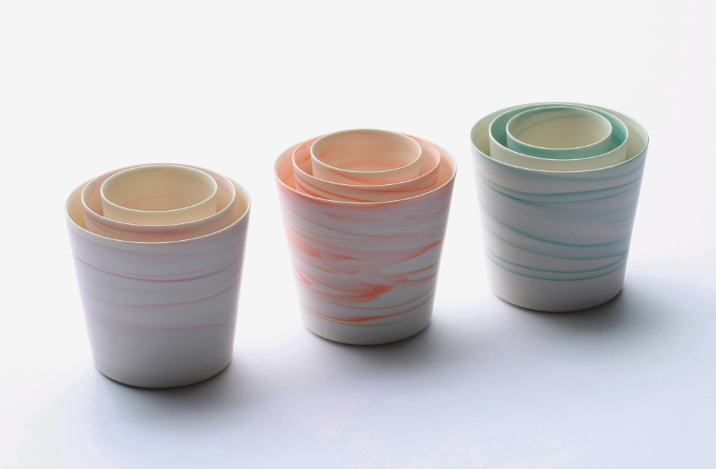 Set <em>Shadowed Color Cup</em>, 2013. White porcelain. 9.2 × 8.7 cm.