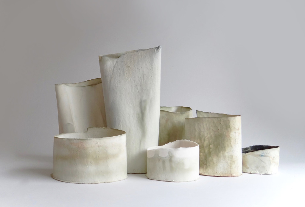 <em>Thin Tins</em> objects, 2015. Porcelain, H 6–30 cm