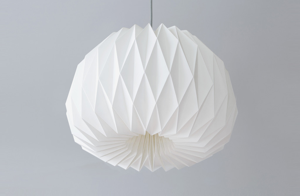 <em>Facing the Moon XL</em> origami lamp shade. Paper