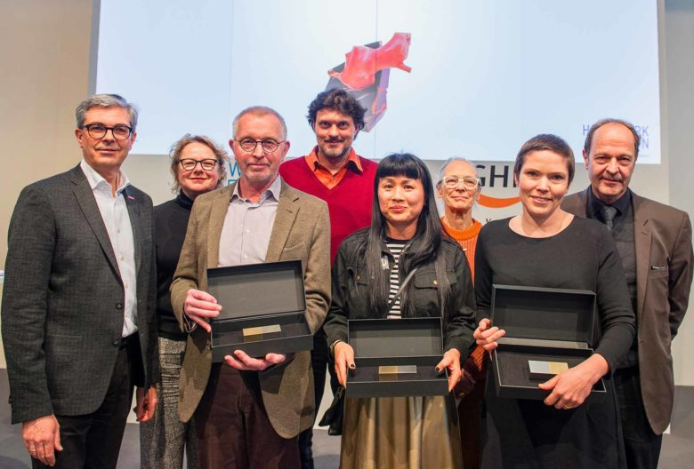 Herbert Hofmann Award eremony 2018. From the left, Dieter Dohr, GHM, jury member Cornelie Holzach, award winner Gernot Leibold, jury member Stefano Marchetti, laureate Lin Cheung, jury member Caroline Broadhead, award winner Julia Maria Künnap and Wolfgang Lösche, head of the Schmuck  [Jewelery] show, Chamber of Crafts Munich and Upper Bavaria