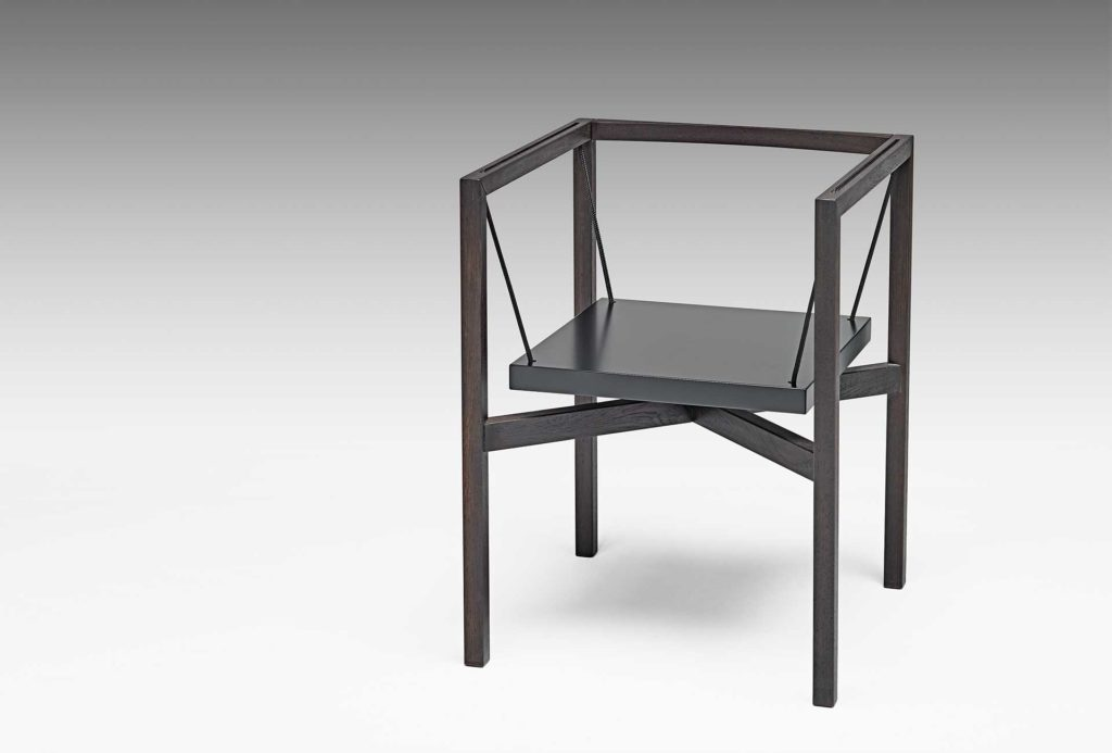 <em>Sensilla</em> chair, 1988. Wenge with nautical textile ropes. Available as a new edition in iron or stainless steel with granite seat and steel cables. 1.450 euros. Photo Eric Jobs