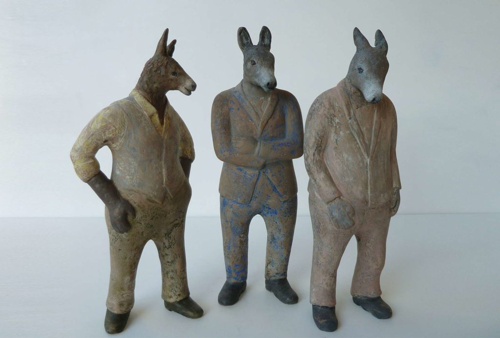 Donkeys, 2016. Colored clay, porcelain, H 33 cm