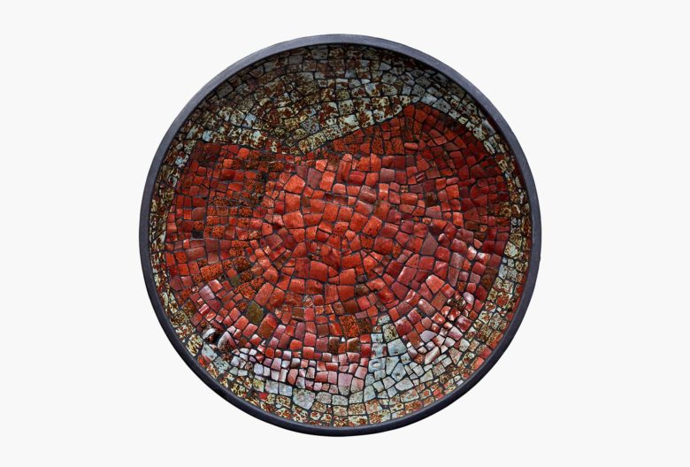 Fritz Baumer, <em>Schale</em> [Bowl], 1986. Ceramic mosaic from sorted out vessels. Baumer received them by Hubert Griemert, Richard Bampi, Wendelin Stahl and others.