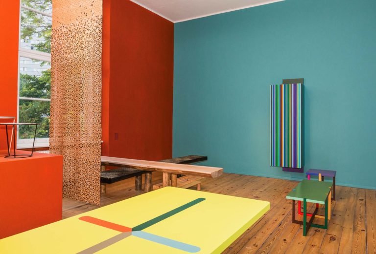 On the left, curtain by Eliza Strozyk. Center, seating by Zascho Petkov. On the right, table, seating and wall object by Martin Holzapfel. © Philipp Haas.
